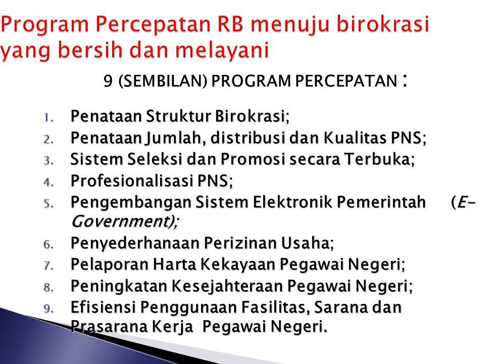 Meningkatnya kualitas pelayanan publik 7 Meningkatnya kapasitas dan akuntabilitas kinerja birokrasi Terwujudnya pemerintahan yang bersih dan bebas kor