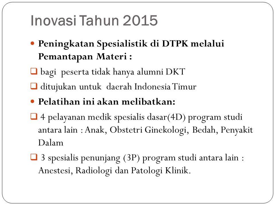 Inovasi Tahun 2015 Peningkatan Spesialistik di DTPK melalui Pemantapan Materi :  bagi peserta tidak hanya alumni DKT  ditujukan untuk daerah Indonesia Timur Pelatihan ini akan melibatkan:  4 pelayanan medik spesialis dasar(4D) program studi antara lain : Anak, Obstetri Ginekologi, Bedah, Penyakit Dalam  3 spesialis penunjang (3P) program studi antara lain : Anestesi, Radiologi dan Patologi Klinik.