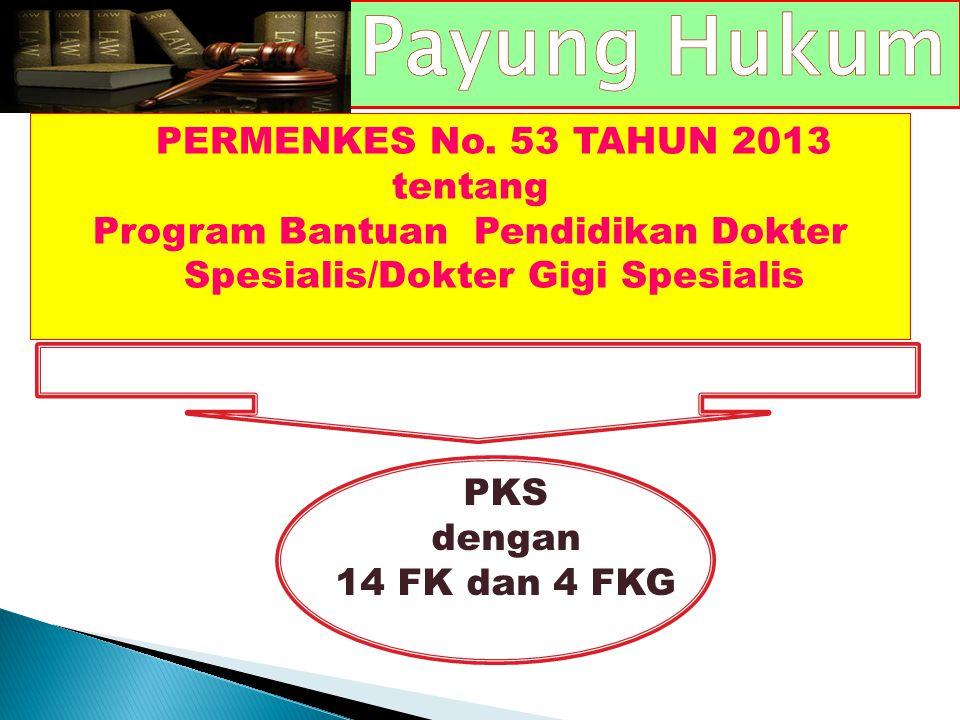 PERMENKES No. 53 TAHUN 2013 tentang Program Bantuan Pendidikan Dokter Spesialis/Dokter Gigi Spesialis PKS dengan 14 FK dan 4 FKG