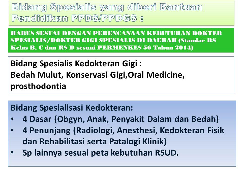 Bidang Spesialisasi Kedokteran: 4 Dasar (Obgyn, Anak, Penyakit Dalam dan Bedah) 4 Penunjang (Radiologi, Anesthesi, Kedokteran Fisik dan Rehabilitasi serta Patalogi Klinik) Sp lainnya sesuai peta kebutuhan RSUD.