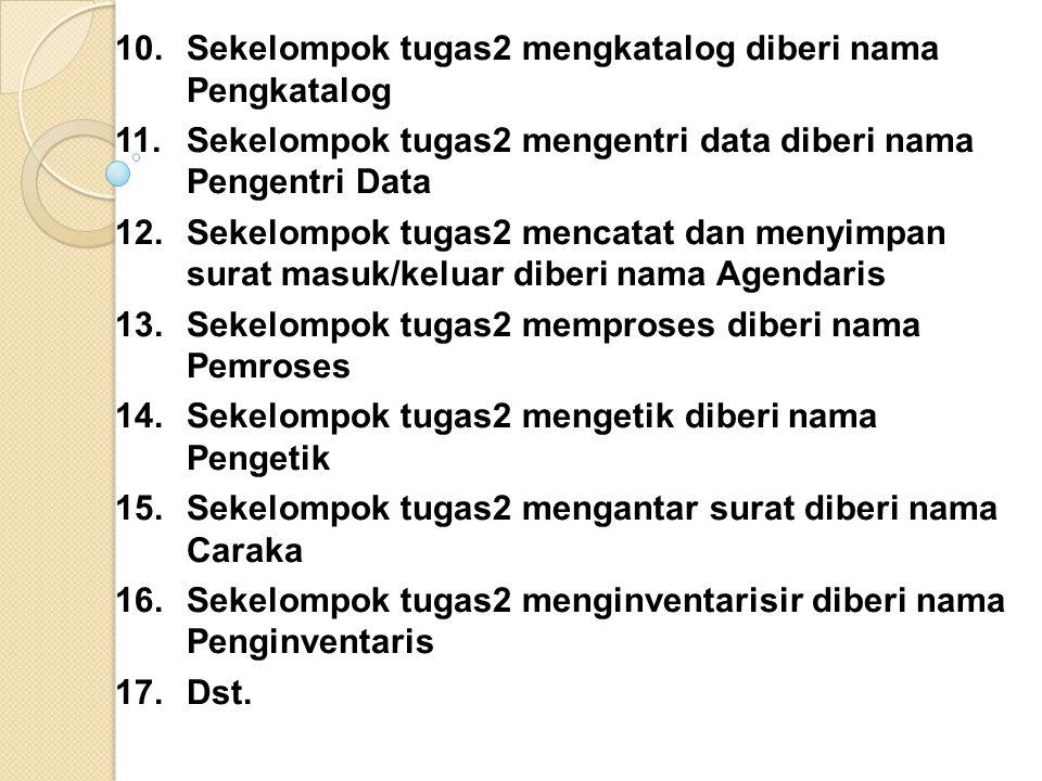 10.Sekelompok tugas2 mengkatalog diberi nama Pengkatalog 11.Sekelompok tugas2 mengentri data diberi nama Pengentri Data 12.Sekelompok tugas2 mencatat