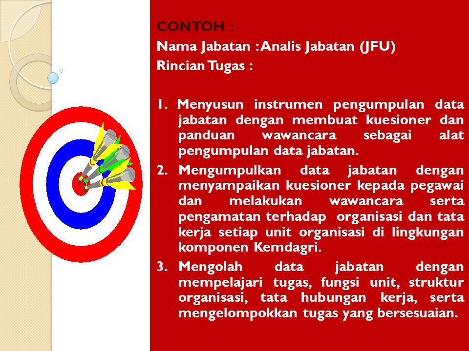 CONTOH : Nama Jabatan : Analis Jabatan (JFU) Rincian Tugas : 1. Menyusun instrumen pengumpulan data jabatan dengan membuat kuesioner dan panduan wawan