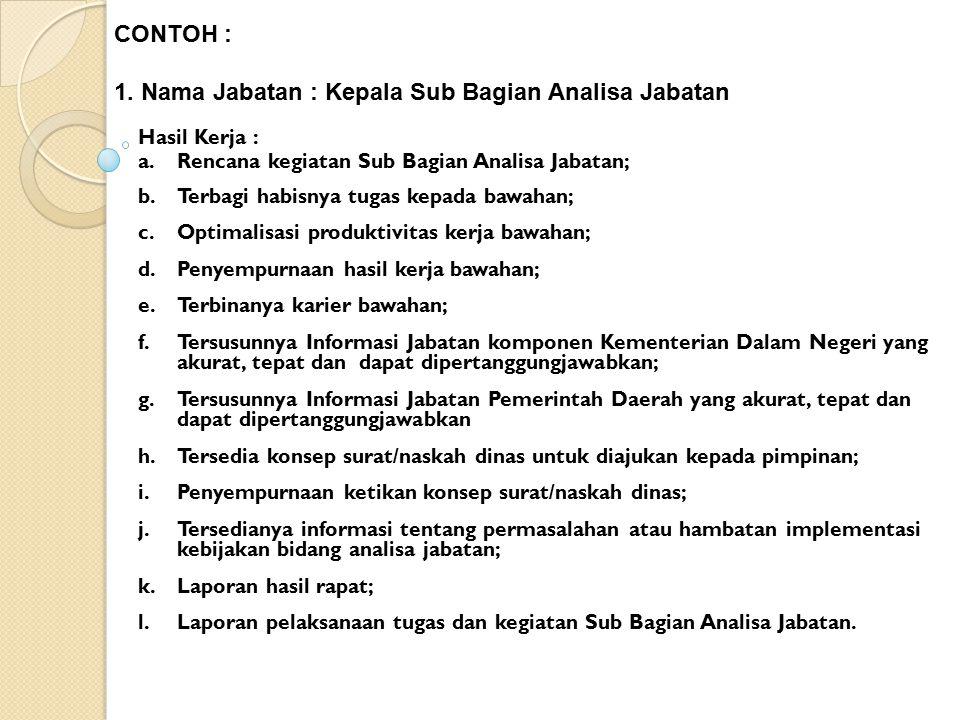 Hasil Kerja : a.Rencana kegiatan Sub Bagian Analisa Jabatan; b.Terbagi habisnya tugas kepada bawahan; c.Optimalisasi produktivitas kerja bawahan; d.Pe