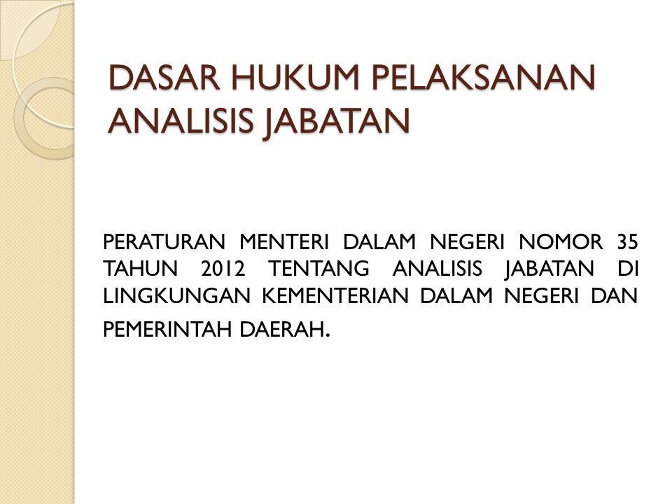 CONTOH : Nama Jabatan : Kepala Sub Bagian Analisa Jabatan (Struktural) a.