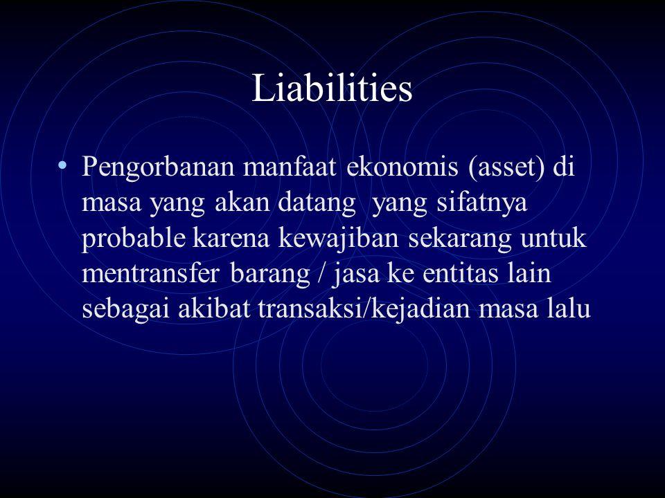 Liabilities Pengorbanan manfaat ekonomis (asset) di masa yang akan datang yang sifatnya probable karena kewajiban sekarang untuk mentransfer barang /