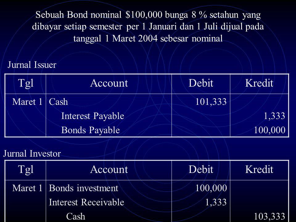 Sebuah Bond nominal $100,000 bunga 8 % setahun yang dibayar setiap semester per 1 Januari dan 1 Juli dijual pada tanggal 1 Maret 2004 sebesar nominal