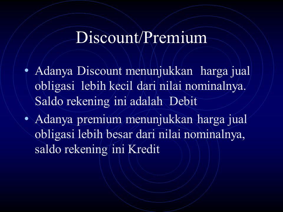 Discount/Premium Adanya Discount menunjukkan harga jual obligasi lebih kecil dari nilai nominalnya. Saldo rekening ini adalah Debit Adanya premium men