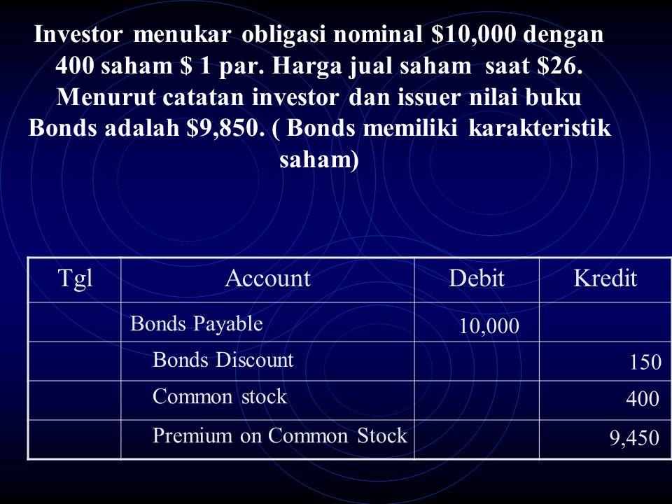 Investor menukar obligasi nominal $10,000 dengan 400 saham $ 1 par. Harga jual saham saat $26. Menurut catatan investor dan issuer nilai buku Bonds ad
