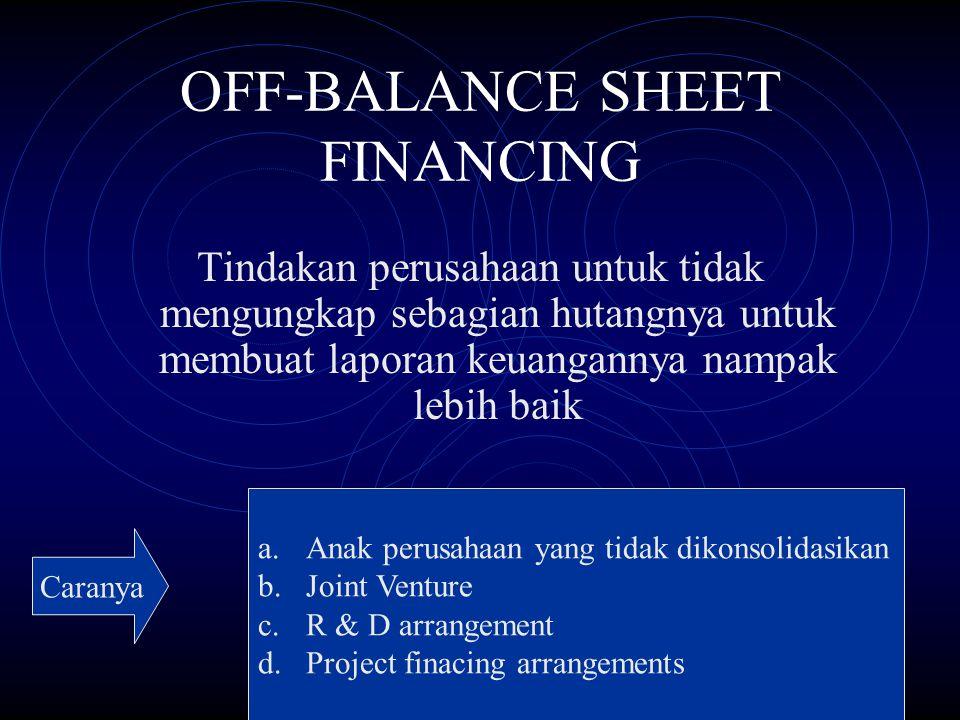 OFF-BALANCE SHEET FINANCING Tindakan perusahaan untuk tidak mengungkap sebagian hutangnya untuk membuat laporan keuangannya nampak lebih baik a.Anak p