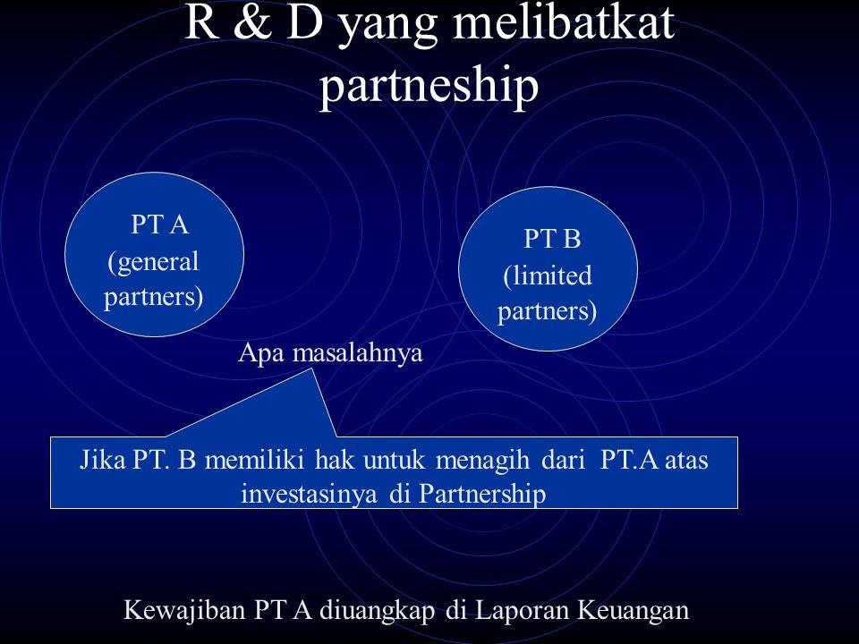 R & D yang melibatkat partneship PT A (general partners) PT B (limited partners) Jika PT. B memiliki hak untuk menagih dari PT.A atas investasinya di