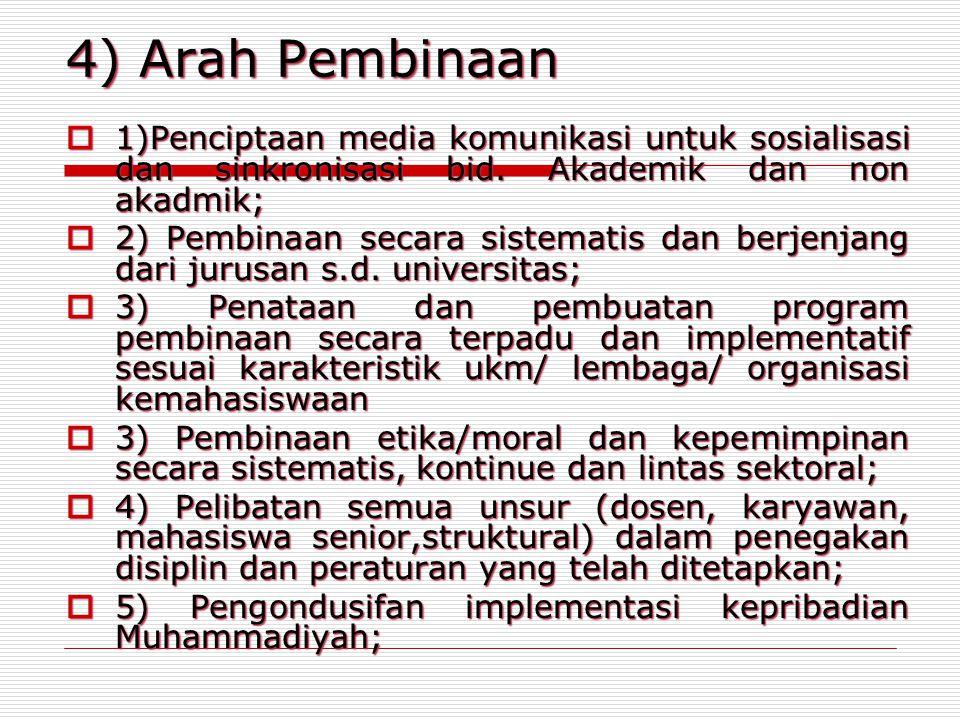 4) Arah Pembinaan  1)Penciptaan media komunikasi untuk sosialisasi dan sinkronisasi bid. Akademik dan non akadmik;  2) Pembinaan secara sistematis d