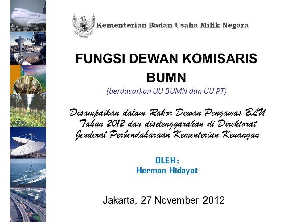 FUNGSI DEWAN KOMISARIS BUMN (berdasarkan UU BUMN dan UU PT) Disampaikan dalam Rakor Dewan Pengawas BLU Tahun 2012 dan diselenggarakan di Direktorat Jenderal Perbendaharaan Kementerian Keuangan Jakarta, 27 November 2012