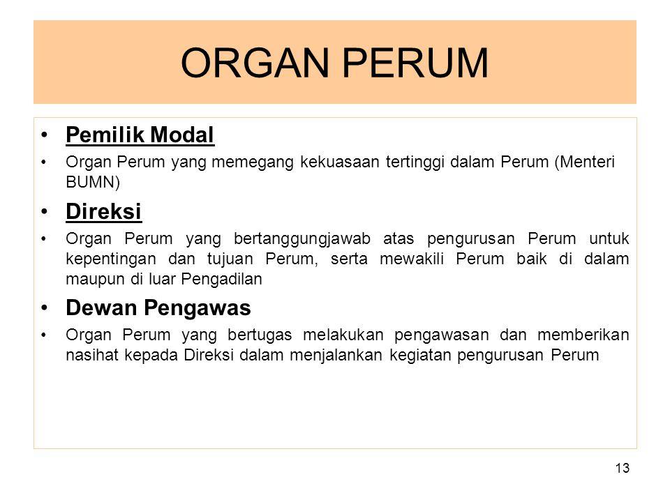 13 ORGAN PERUM Pemilik Modal Organ Perum yang memegang kekuasaan tertinggi dalam Perum (Menteri BUMN) Direksi Organ Perum yang bertanggungjawab atas p