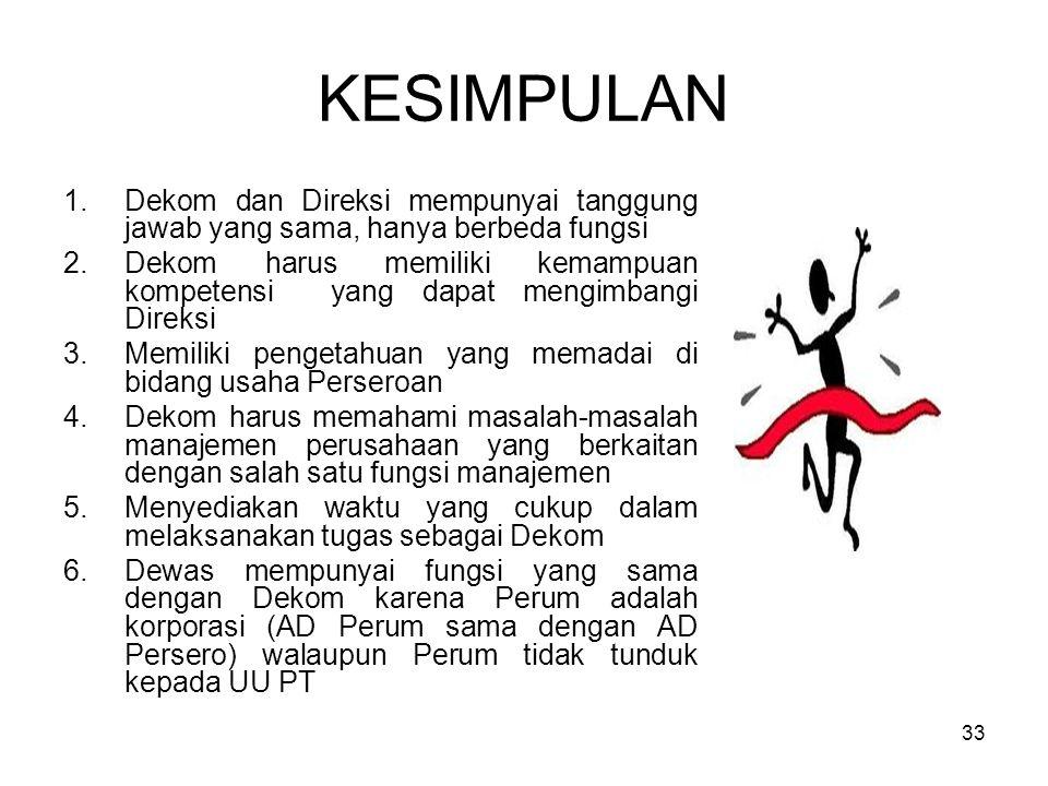 33 KESIMPULAN 1.Dekom dan Direksi mempunyai tanggung jawab yang sama, hanya berbeda fungsi 2.Dekom harus memiliki kemampuan kompetensi yang dapat meng