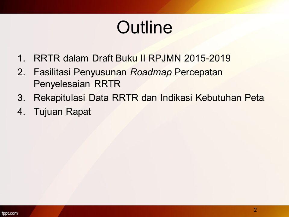 1.RRTR dalam Draft Buku II RPJMN 2015-2019 a.Dalam sistem pelaksanaan penataan ruang:  RRTR merupakan instrumen pengendalian pemanfaatan ruang melalui penetapan peraturan zonasi  Dengan skala lebih besar,lebih kuat kepastian hukum RTR.