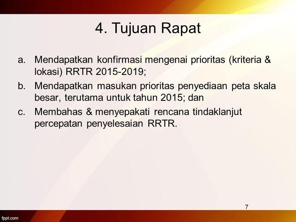 4. Tujuan Rapat a.Mendapatkan konfirmasi mengenai prioritas (kriteria & lokasi) RRTR 2015-2019; b.Mendapatkan masukan prioritas penyediaan peta skala