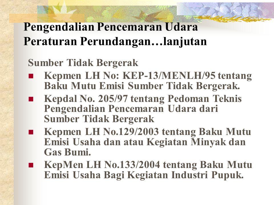 Sumber Tidak Bergerak Kepmen LH No: KEP-13/MENLH/95 tentang Baku Mutu Emisi Sumber Tidak Bergerak.