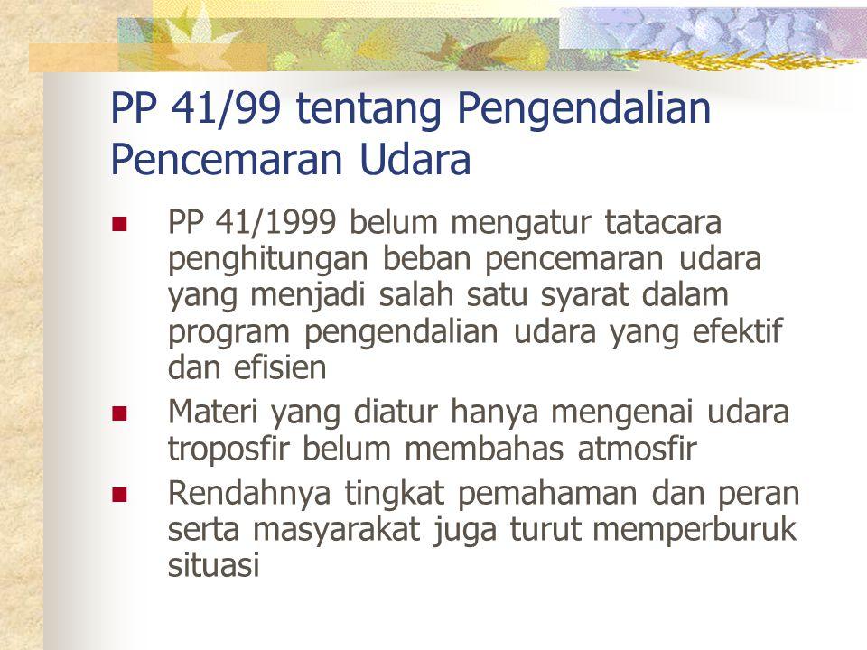 PP 41/1999 belum mengatur tatacara penghitungan beban pencemaran udara yang menjadi salah satu syarat dalam program pengendalian udara yang efektif dan efisien Materi yang diatur hanya mengenai udara troposfir belum membahas atmosfir Rendahnya tingkat pemahaman dan peran serta masyarakat juga turut memperburuk situasi PP 41/99 tentang Pengendalian Pencemaran Udara