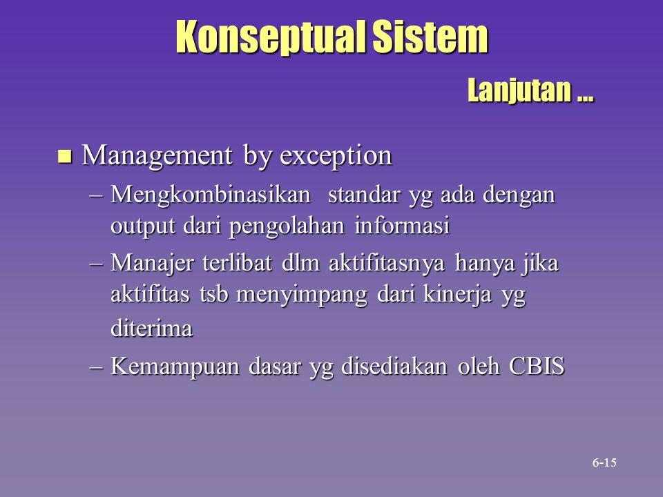 Konseptual Sistem Lanjutan … n Management by exception –Mengkombinasikan standar yg ada dengan output dari pengolahan informasi –Manajer terlibat dlm
