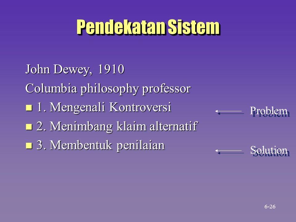 Pendekatan Sistem John Dewey, 1910 Columbia philosophy professor n 1. Mengenali Kontroversi n 2. Menimbang klaim alternatif n 3. Membentuk penilaian P
