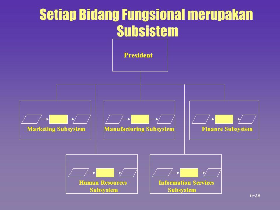 Marketing Subsystem Manufacturing Subsystem Finance Subsystem President Setiap Bidang Fungsional merupakan Subsistem Human Resources Subsystem Informa