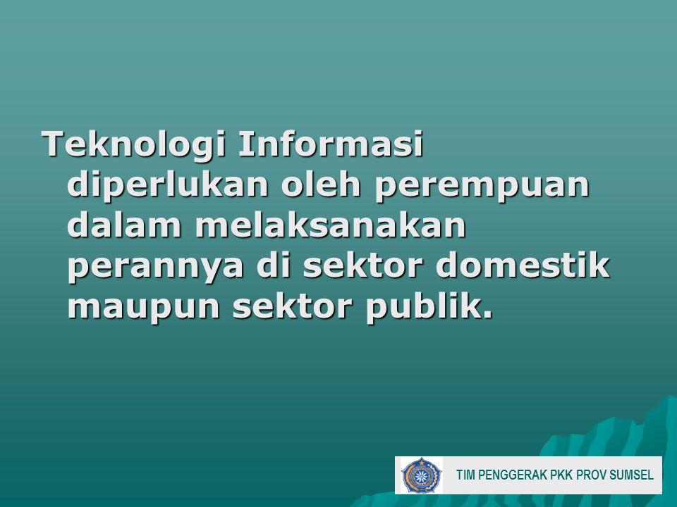 Teknologi Informasi diperlukan oleh perempuan dalam melaksanakan perannya di sektor domestik maupun sektor publik.