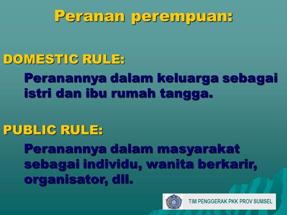 Peranan perempuan: DOMESTIC RULE: Peranannya dalam keluarga sebagai istri dan ibu rumah tangga.