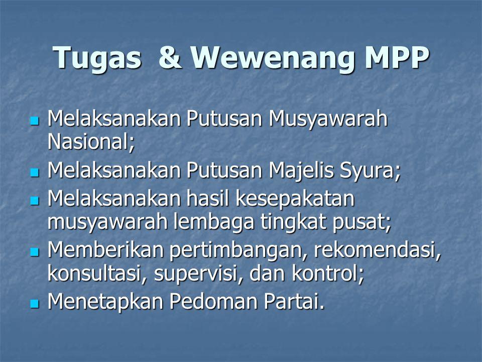 Tugas & Fungsi MPP  Melaksanakan amanat Musyawarah Nasional, Putusan Majelis Syura, dan kesepakatan musyawarah Dewan Pimpinan Tingkat Pusat.