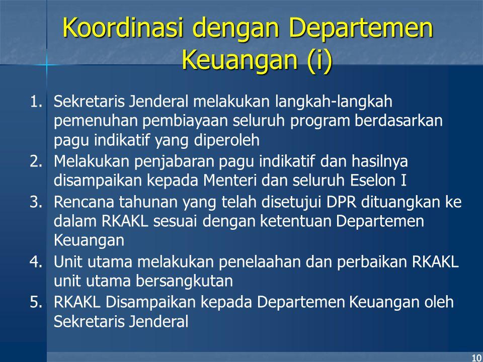 10 1.Sekretaris Jenderal melakukan langkah-langkah pemenuhan pembiayaan seluruh program berdasarkan pagu indikatif yang diperoleh 2.Melakukan penjabar