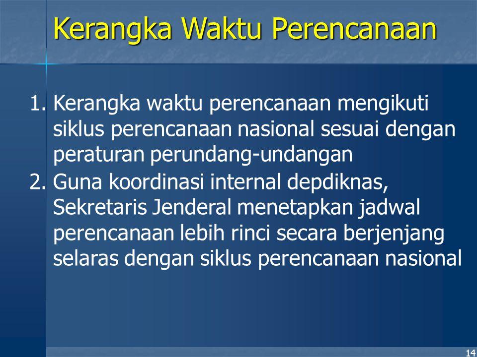 14 1.Kerangka waktu perencanaan mengikuti siklus perencanaan nasional sesuai dengan peraturan perundang-undangan 2.Guna koordinasi internal depdiknas,
