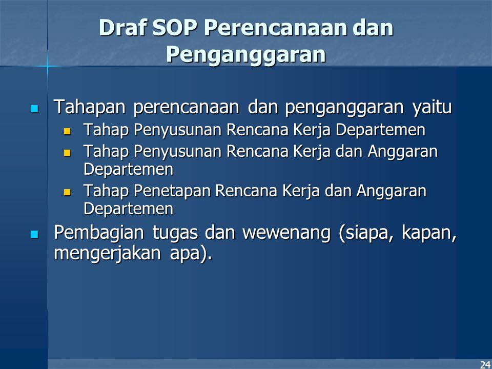 24 Draf SOP Perencanaan dan Penganggaran Tahapan perencanaan dan penganggaran yaitu Tahapan perencanaan dan penganggaran yaitu Tahap Penyusunan Rencan