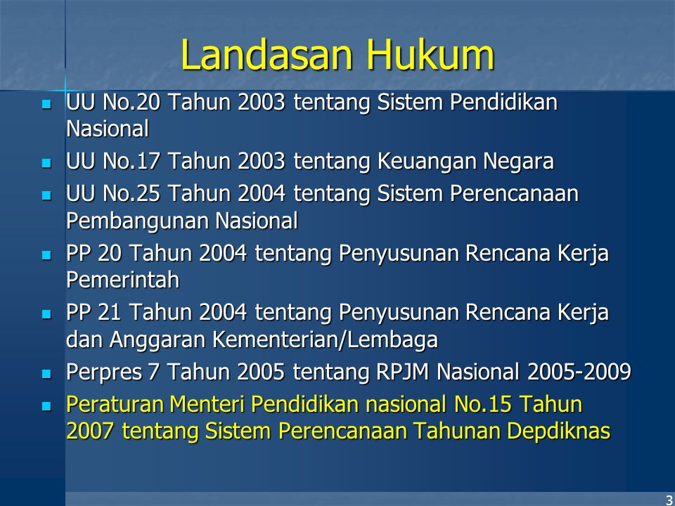 3 Landasan Hukum UU No.20 Tahun 2003 tentang Sistem Pendidikan Nasional UU No.20 Tahun 2003 tentang Sistem Pendidikan Nasional UU No.17 Tahun 2003 ten