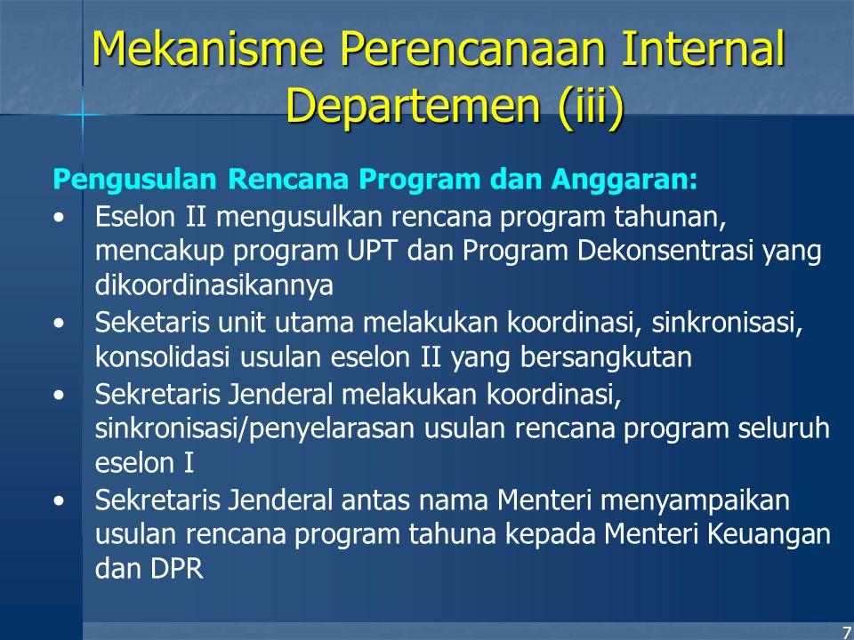 7 Pengusulan Rencana Program dan Anggaran: Eselon II mengusulkan rencana program tahunan, mencakup program UPT dan Program Dekonsentrasi yang dikoordi