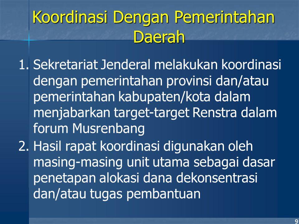 10 1.Sekretaris Jenderal melakukan langkah-langkah pemenuhan pembiayaan seluruh program berdasarkan pagu indikatif yang diperoleh 2.Melakukan penjabaran pagu indikatif dan hasilnya disampaikan kepada Menteri dan seluruh Eselon I 3.Rencana tahunan yang telah disetujui DPR dituangkan ke dalam RKAKL sesuai dengan ketentuan Departemen Keuangan 4.Unit utama melakukan penelaahan dan perbaikan RKAKL unit utama bersangkutan 5.RKAKL Disampaikan kepada Departemen Keuangan oleh Sekretaris Jenderal Koordinasi dengan Departemen Keuangan (i)