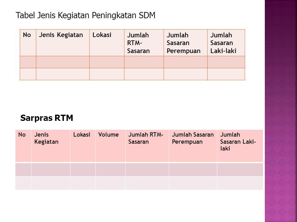  Kegiatan pengembangan UEP-SP RTM yang akan dilaksanakan terdiri dari USP pemodalan usaha, serta peningkatan SDM.  Tabel Kegiatan Pengembangan UEP-S
