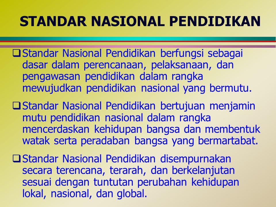 STANDAR NASIONAL PENDIDIKAN  Standar Nasional Pendidikan berfungsi sebagai dasar dalam perencanaan, pelaksanaan, dan pengawasan pendidikan dalam rang