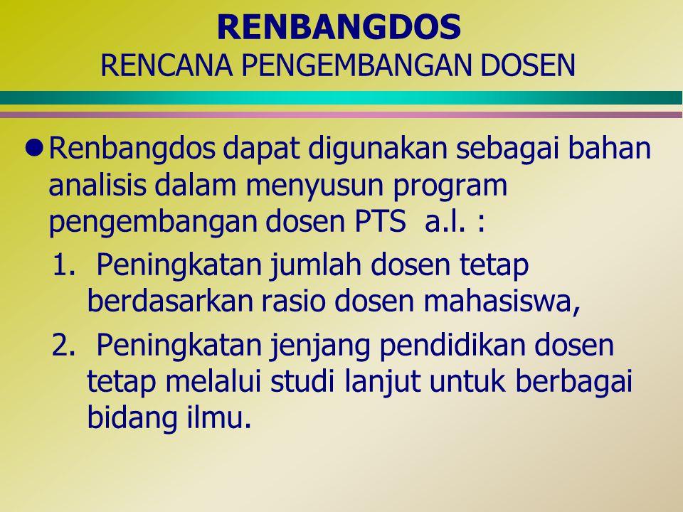 RENBANGDOS RENCANA PENGEMBANGAN DOSEN lRenbangdos dapat digunakan sebagai bahan analisis dalam menyusun program pengembangan dosen PTS a.l. : 1. Penin