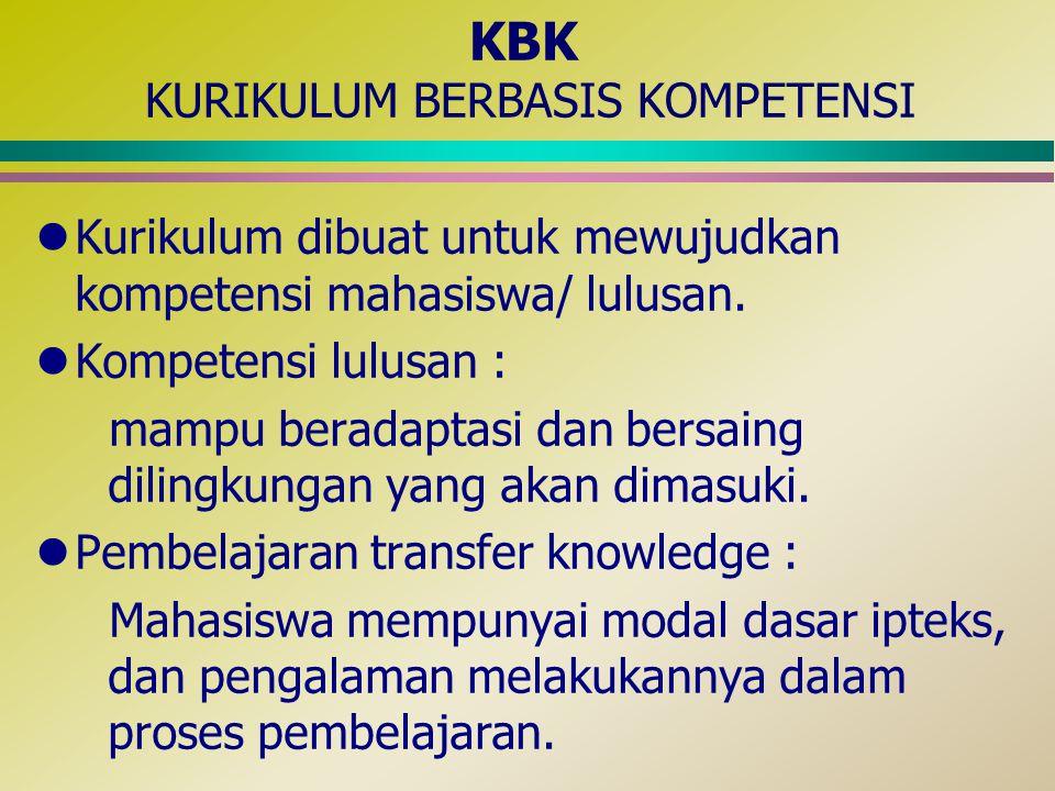 lKurikulum dibuat untuk mewujudkan kompetensi mahasiswa/ lulusan. lKompetensi lulusan : mampu beradaptasi dan bersaing dilingkungan yang akan dimasuki