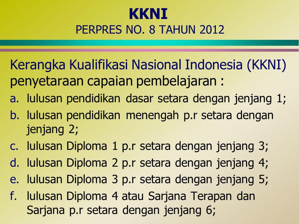 KKNI PERPRES NO. 8 TAHUN 2012 Kerangka Kualifikasi Nasional Indonesia (KKNI) penyetaraan capaian pembelajaran : a.lulusan pendidikan dasar setara deng