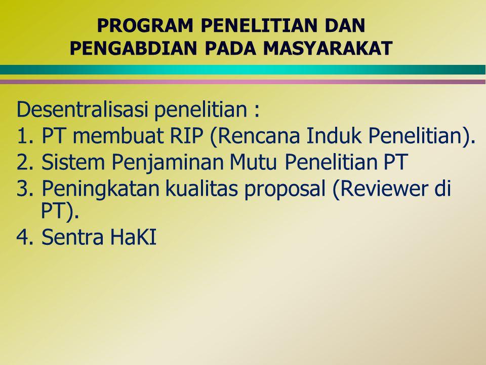 PROGRAM PENELITIAN DAN PENGABDIAN PADA MASYARAKAT Desentralisasi penelitian : 1. PT membuat RIP (Rencana Induk Penelitian). 2. Sistem Penjaminan Mutu