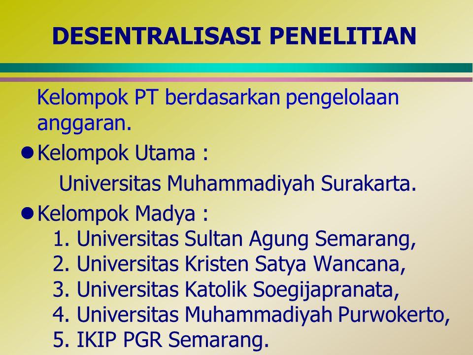 DESENTRALISASI PENELITIAN Kelompok PT berdasarkan pengelolaan anggaran. lKelompok Utama : Universitas Muhammadiyah Surakarta. lKelompok Madya : 1. Uni