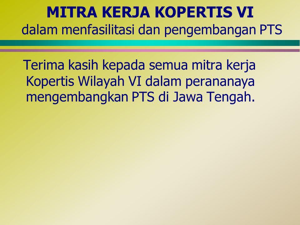 MITRA KERJA KOPERTIS VI dalam menfasilitasi dan pengembangan PTS Terima kasih kepada semua mitra kerja Kopertis Wilayah VI dalam perananaya mengembang
