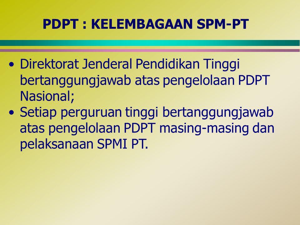 PDPT : KELEMBAGAAN SPM-PT Direktorat Jenderal Pendidikan Tinggi bertanggungjawab atas pengelolaan PDPT Nasional; Setiap perguruan tinggi bertanggungja