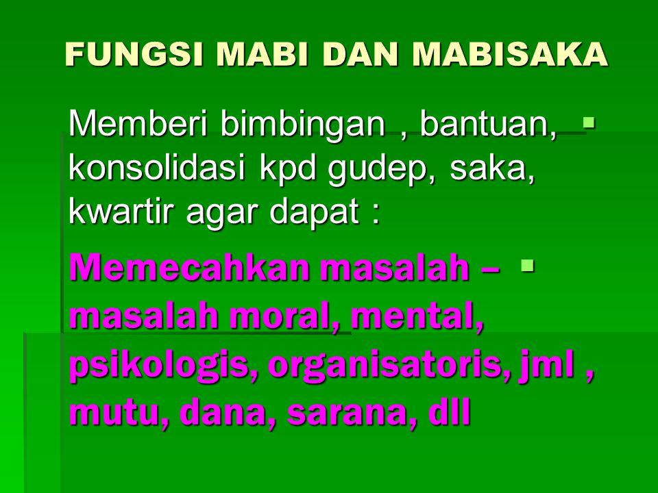 FUNGSI MABI DAN MABISAKA  Memberi bimbingan, bantuan, konsolidasi kpd gudep, saka, kwartir agar dapat :  Memecahkan masalah – masalah moral, mental,
