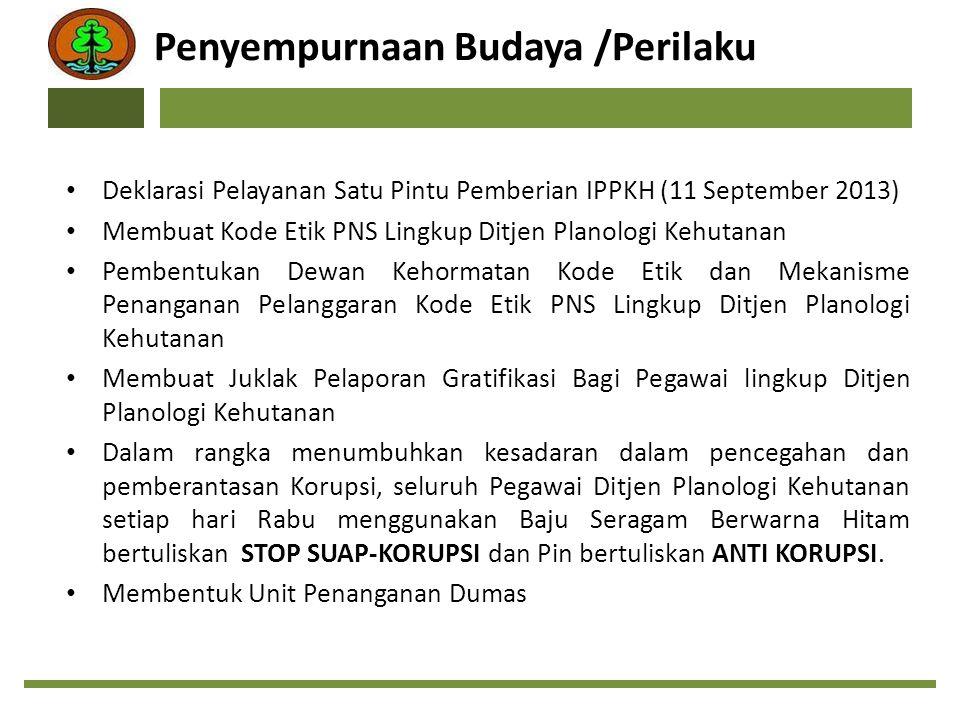 Penyempurnaan Budaya /Perilaku Deklarasi Pelayanan Satu Pintu Pemberian IPPKH (11 September 2013) Membuat Kode Etik PNS Lingkup Ditjen Planologi Kehut