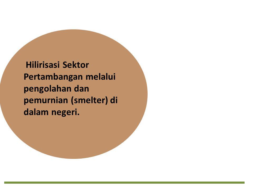 Hilirisasi Sektor Pertambangan melalui pengolahan dan pemurnian (smelter) di dalam negeri.