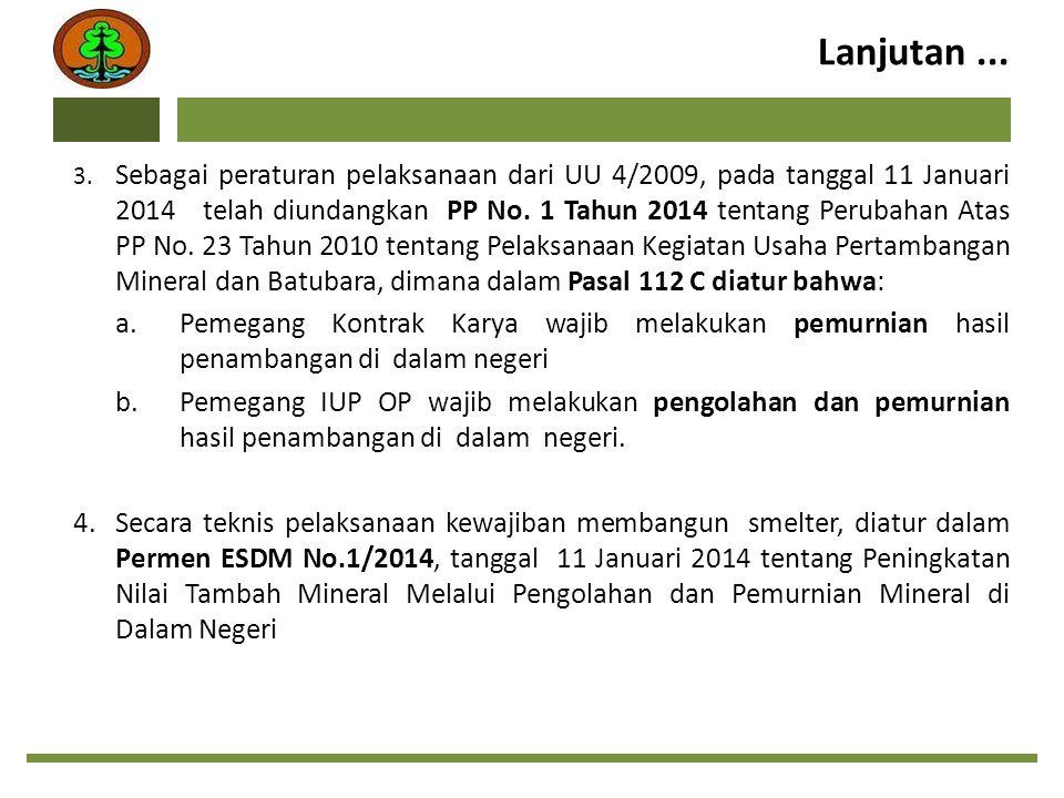 Lanjutan... 3. Sebagai peraturan pelaksanaan dari UU 4/2009, pada tanggal 11 Januari 2014 telah diundangkan PP No. 1 Tahun 2014 tentang Perubahan Atas
