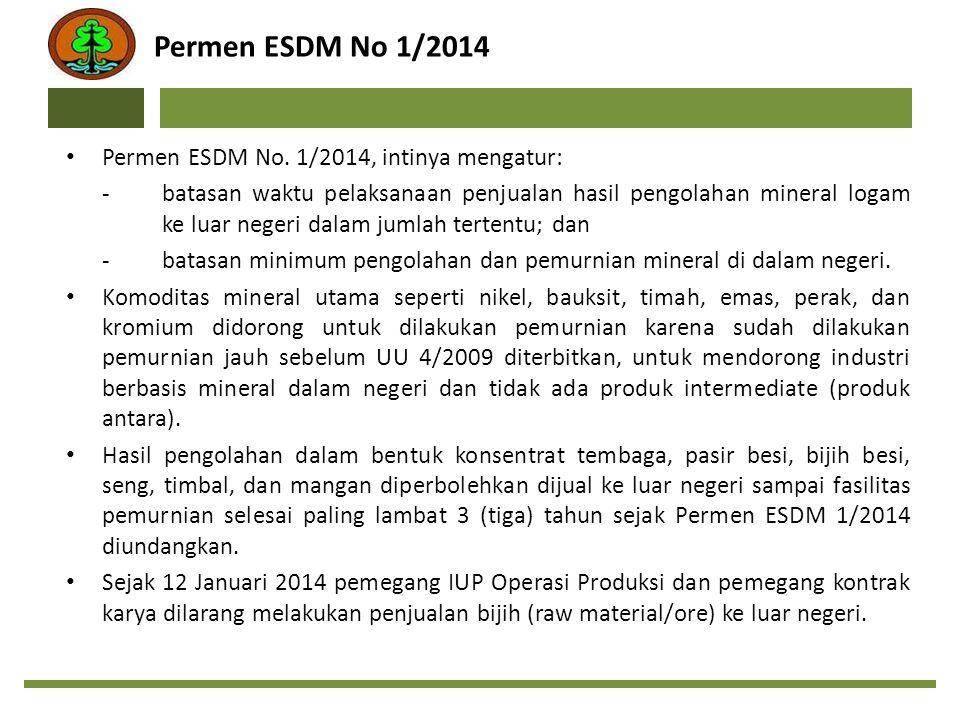 Permen ESDM No 1/2014 Permen ESDM No. 1/2014, intinya mengatur: -batasan waktu pelaksanaan penjualan hasil pengolahan mineral logam ke luar negeri dal