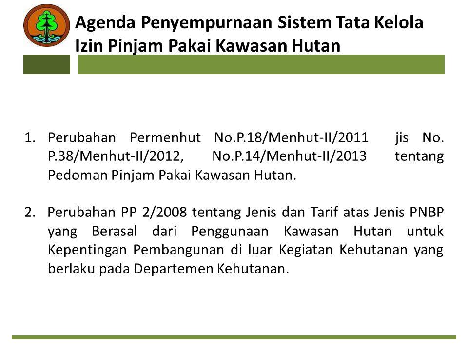 1.Perubahan Permenhut No.P.18/Menhut-II/2011 jis No. P.38/Menhut-II/2012, No.P.14/Menhut-II/2013 tentang Pedoman Pinjam Pakai Kawasan Hutan. 2.Perubah