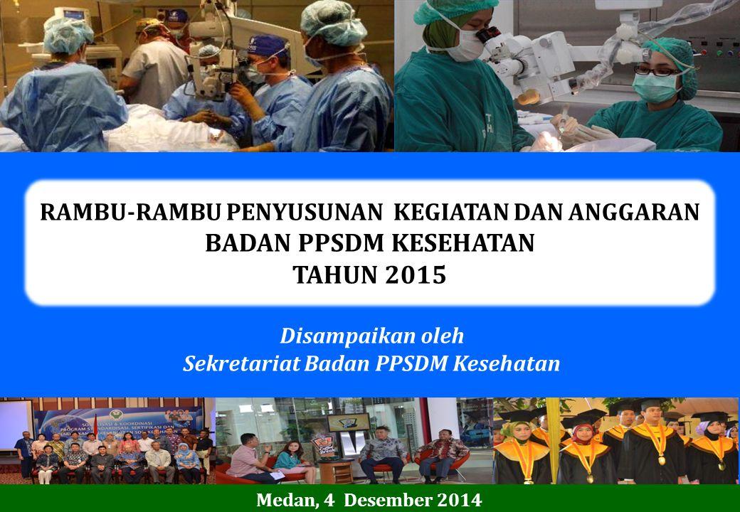 RAMBU-RAMBU PENYUSUNAN KEGIATAN DAN ANGGARAN BADAN PPSDM KESEHATAN TAHUN 2015 Disampaikan oleh Sekretariat Badan PPSDM Kesehatan Medan, 4 Desember 201